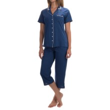 Aria Cotton Jersey Pajamas - Capris, Short Sleeve (For Women) in Navy Dot - Closeouts
