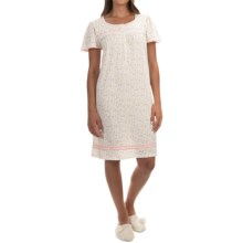 Aria Floral Print Nightgown - Cotton Jersey, Short Sleeve (For Women) in White Ditsy - Overstock