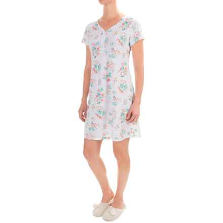 Aria Four-Button Nightgown - Short Sleeve (For Women) in Multi Floral - Closeouts