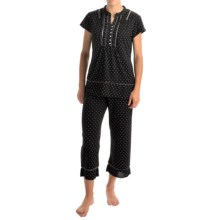 Aria Jersey-Knit Capri Pajamas - Short Sleeve (For Women) in Black Dot - Overstock