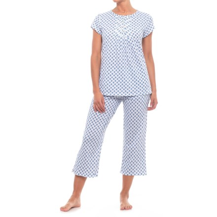Aria Long Pajamas - Short Sleeve (For Women) in Wht Dprt - Closeouts 8f0d908c2