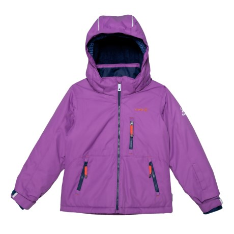Image of Aria Solid Jacket with Removable Hood - Insulated (For Little Girls)