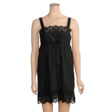 Arianne Eyelet Tank Strap Nightgown - Cotton, Sleeveless (For Women) in Black - Closeouts