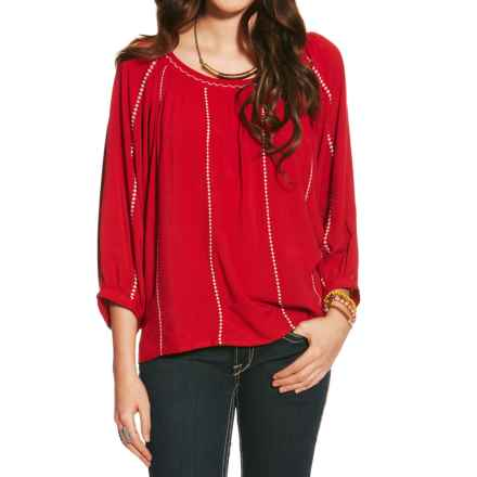 Ariat Ali Rayon Shirt - 3/4 Sleeve (For Women) in Rouge - Closeouts