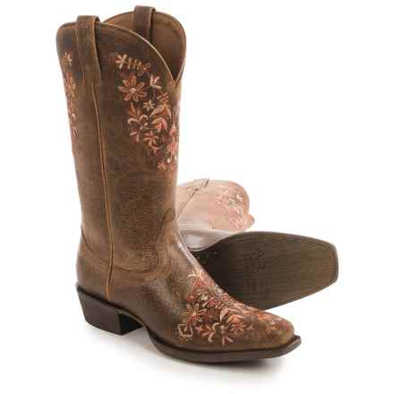 Ariat Ardent Cowboy Boots - Leather, Embroidered Details, Square Toe (For Women) in Terra Brown - Closeouts