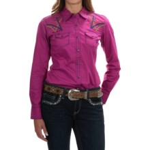 Ariat Ariana Embroidered Poplin Western Shirt - Snap Front, Long Sleeve (For Women) in Violina - Overstock