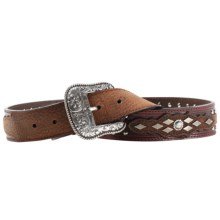 Ariat Austin Belt - Tooled Leather (For Men) in Antique Brown/Brown Rowdy - Closeouts
