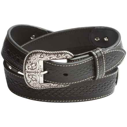 Ariat Beaded Inlay Conchos Belt - Leather (For Men) in Black - Closeouts