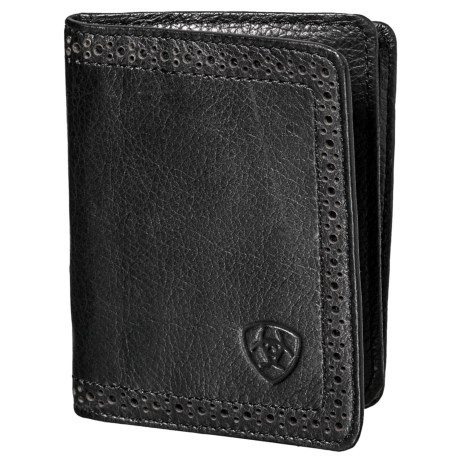 Ariat Bifold Flip-Case Wallet - Leather (For Men) in Black
