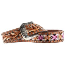 Ariat Blossom Western Belt - Hand-Painted Leather (For Women) in Tan/Pink - Closeouts