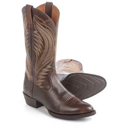 "Ariat Boomtown Cowboy Boots - 13"", R-Toe (For Men) in Brown - Closeouts"