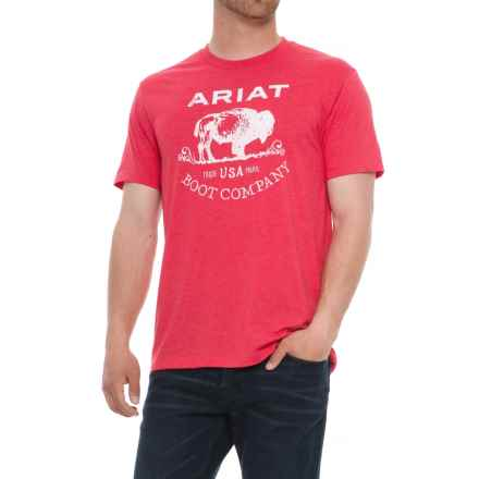 Ariat Buffalo Free T-Shirt - Short Sleeve (For Men) in Red Heather - Overstock