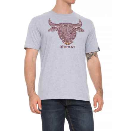 Ariat Bull Strong T-Shirt - Short Sleeve (For Men) in Heather - Overstock