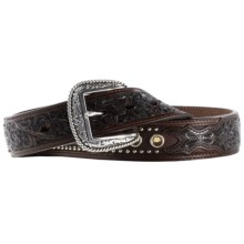 Ariat Cason Belt - Leather, Scroll Overlay (For Men) in Chocolate - Closeouts