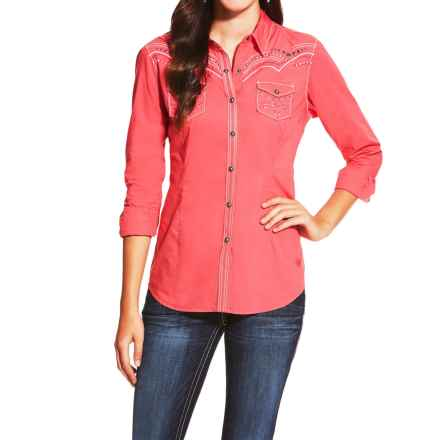 Ariat Cerise Shirt - Snap Front, Long Sleeve (For Women) in Geranium - Closeouts