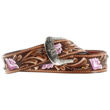 Ariat Chloe Belt - Leather (For Women) in Tan/Pink - Closeouts