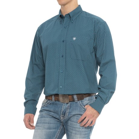 Ariat Christian Shirt - Long Sleeve (For Men) in Blue Pine