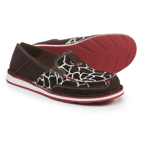 Ariat Cruiser Leather Shoes - Slip-Ons (For Women) in Chocolate Chip Suede/Giraffe