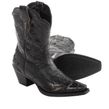 Ariat Dahlia Cowboy Boots - Leather, Snip Toe (For Women) in Pitch Black/Ebony Floral - Closeouts