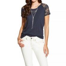 Ariat Debbie Shirt - Short Sleeve (For Women) in Peacoat Navy - Closeouts