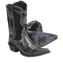 Ariat Desperado Cowboy Boots -J-Toe, Leather (For Women) in Ash Black/Scale Black - Closeouts