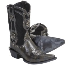 Ariat Desperado Cowboy Boots -J-Toe, Leather (For Women) in Ash Black/Scale Black
