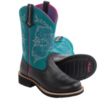 Ariat Fatbaby Cowgirl Tall Cowboy Boots - Leather, Round Toe (For Women) in Black Deertan/Turquoise - Closeouts