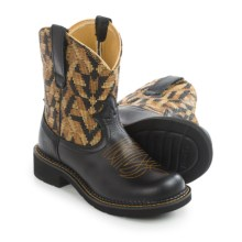 "Ariat Fatbaby Heritage Vivid Cowboy Boots - 8"", Round Toe (For Women) in Vintage Black/Gold Blanket - Closeouts"