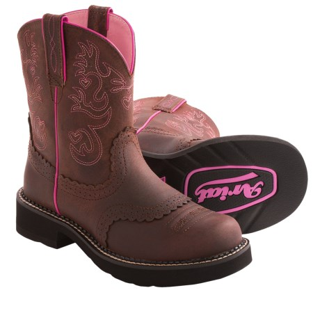 Ariat Fatbaby Saddle Cowboy Boots Leather, Round Toe (For Women)