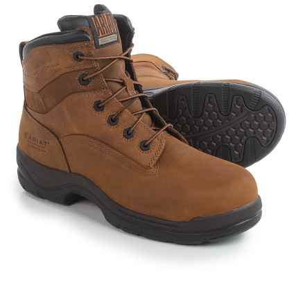 "Ariat FlexPro 6"" H2O Work Boots - Waterproof, Composite Toe, Leather (For Men) in Aged Bark - Closeouts"