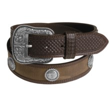 Ariat Fort Worth Distressed Leather Belt (For Men) in Brown - Closeouts
