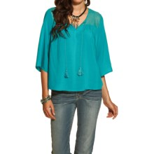 Ariat Garland Lace-Yoke Tunic Shirt - Elbow Sleeve (For Women) in Bluebird - Overstock