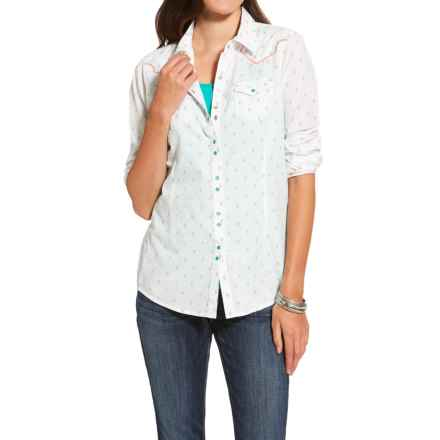 Ariat Grand Shirt - Snap Front, Long Sleeve (For Women) in White Multi - Closeouts