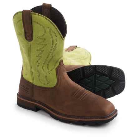 "Ariat Groundbreaker 10"" Wide Square Toe Work Boots - Waterproof, Steel Toe (For Men) in Palm Brown - Closeouts"