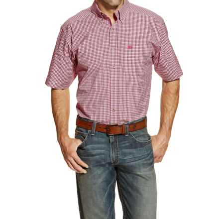 Ariat Halcion High-Performance Plaid Shirt - Short Sleeve (For Men and Tall Men) in Berry - Closeouts
