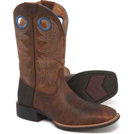 """Ariat Heritage Cowhorse Cowboy Boots - 12"""", Square Toe (For Men) in Bartop Brown/Woodsmoke"""