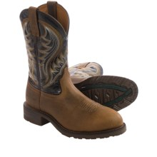 "Ariat Hybrid Rancher Western Work Boots - 11"", Steel Toe (For Men) in Distressed Brown/Black - Closeouts"