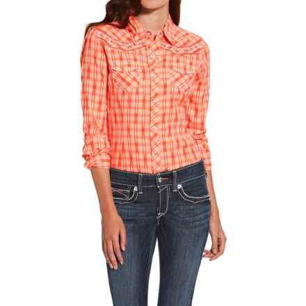 Ariat Ikat Plaid Shirt - Snap Front, Long Sleeve (For Women) in Flame Coral - Closeouts