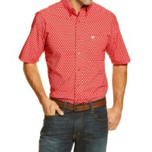 Ariat Jameson Print Western Shirt - Button Front, Short Sleeve (For Men) in Salsa Red - Closeouts