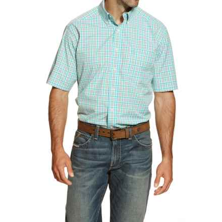 Ariat Jaxson High-Performance Plaid Shirt - Short Sleeve (For Men and Tall Men) in Aqua Multi - Closeouts