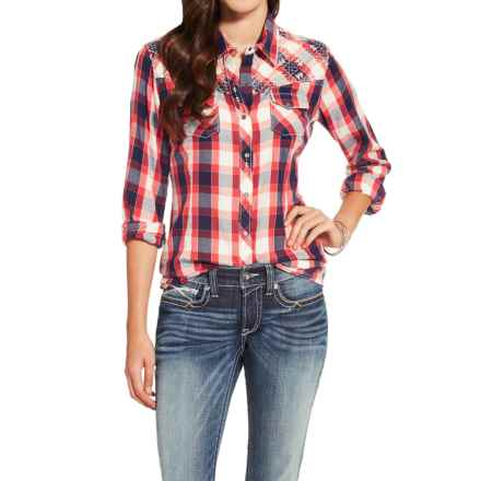 Ariat Journey Plaid Shirt - Snap Front, Long Sleeve (For Women) in Red/Blue Plaid - Closeouts