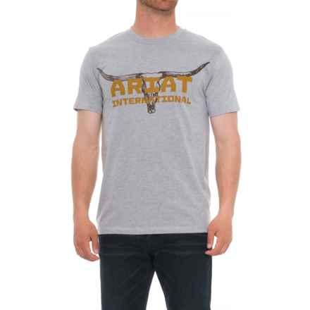 Ariat Longhorn T-Shirt - Short Sleeve (For Men) in Athletic Gray - Overstock