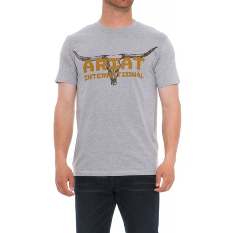 Ariat Longhorn T-Shirt - Short Sleeve (For Men) in Athletic Gray