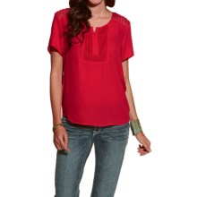Ariat Malone Chiffon Blouse - Short Sleeve (For Women) in Crimson - Overstock