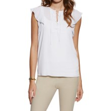 Ariat Marlow Tie-Front Blouse - Short Sleeve (For Women) in White - Overstock