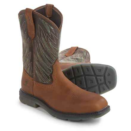 "Ariat Maverick 11"" Leather Work Boots - Composite Toe (For Men) in Desert Brown - Closeouts"