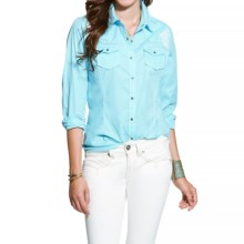 Ariat Myrna Scroll Embroidered Shirt - Snap Front, Long Sleeve (For Women) in Cenote Aqua - Closeouts