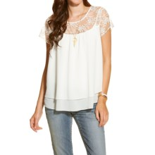 Ariat Nelly Mesh & Stitch Shirt - Short Sleeve (For Women) in White - Closeouts