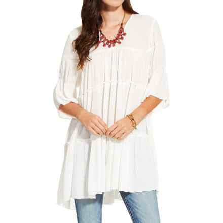 Ariat Newport V-Neck Shirt - Rayon, Elbow Sleeves (For Women) in Cloud Dancer - Closeouts