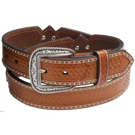 Ariat Ostrich-Inlay Concho Leather Belt (For Men) in Brown - Closeouts